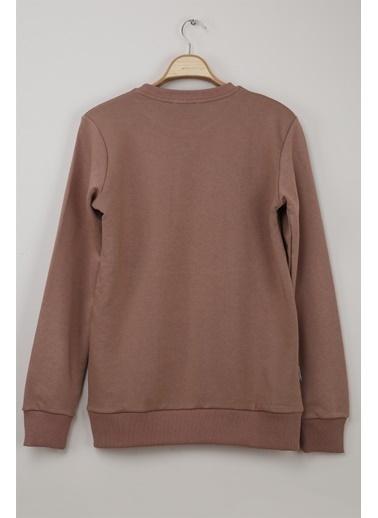 Z Giyim Yuvarlak Yaka Pamuklu Basic Sweatshirt Vizon